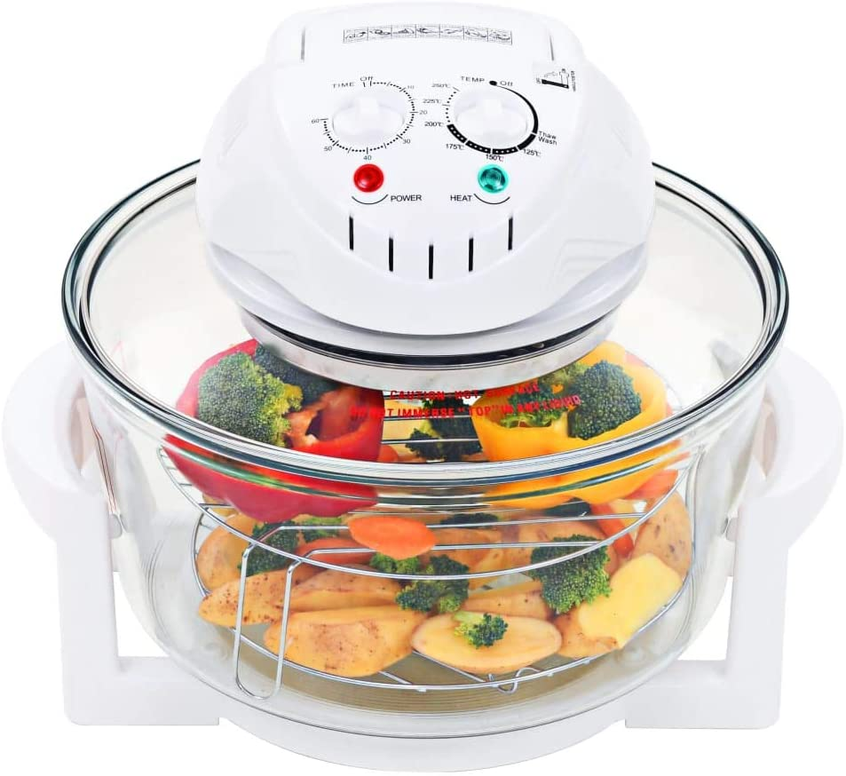 INLIFE 1400W Halogen Convection Oven with Extension Ring Glass 12.7 Quart Prepare Quick Healthy Meals Low Fat for Roasting, Grilling, Baking, Cooking 15.7