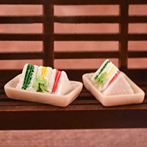 helegeSONG 1/12 Scale Miniature Dollhouse Sandwich Dollhouse Kitchen Accessory Miniature Food Miniature Dollhouse Accessories