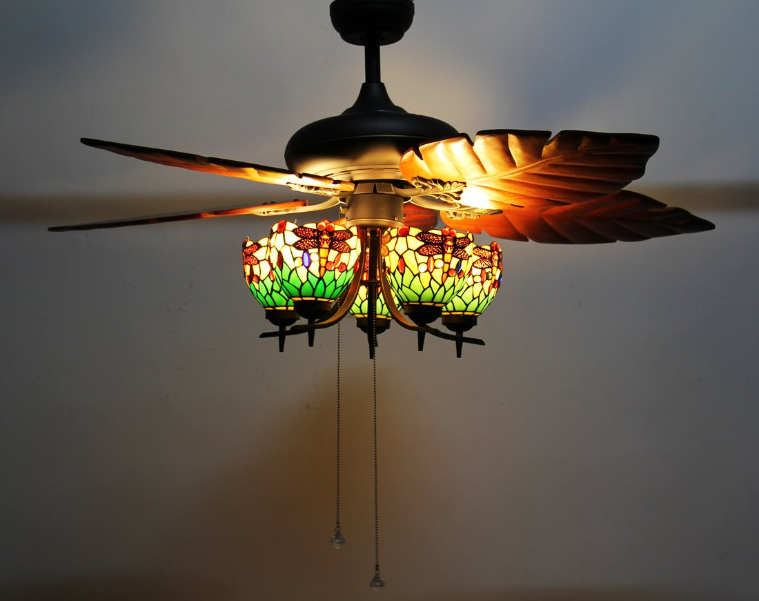 Makenier vintage tiffany style stained glass 5 light dragonfly makenier vintage tiffany style stained glass 5 light dragonfly uplight lampshade ceiling fan light kit with banana leaf shaped blades amazon aloadofball Images