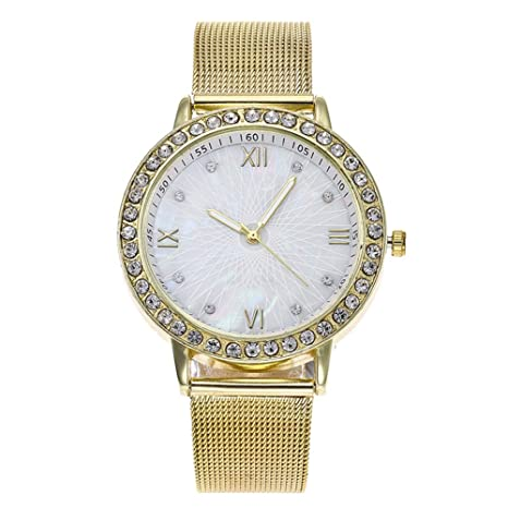 Slri SIridescentZB Reloj Mujer Banda de Malla Líneas de Diamantes de imitación Números Romanos Analógico de