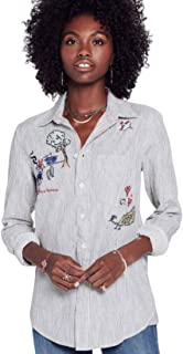 product image for MOTHER Women's Foxy Boxy Embroidered Pinstripe Button Up Shirt, Behind Bars – XS
