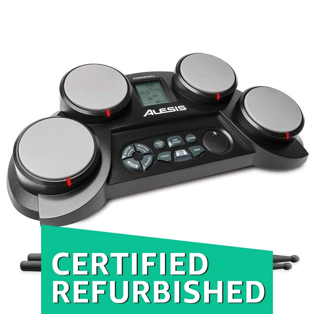 Alesis Compact Kit 4 | Portable Electronic Drum Kit with 70 Drum Sounds, Coaching Feature, Game Functions, Battery- or AC-Power and Drum Sticks Included (Renewed) by Alesis