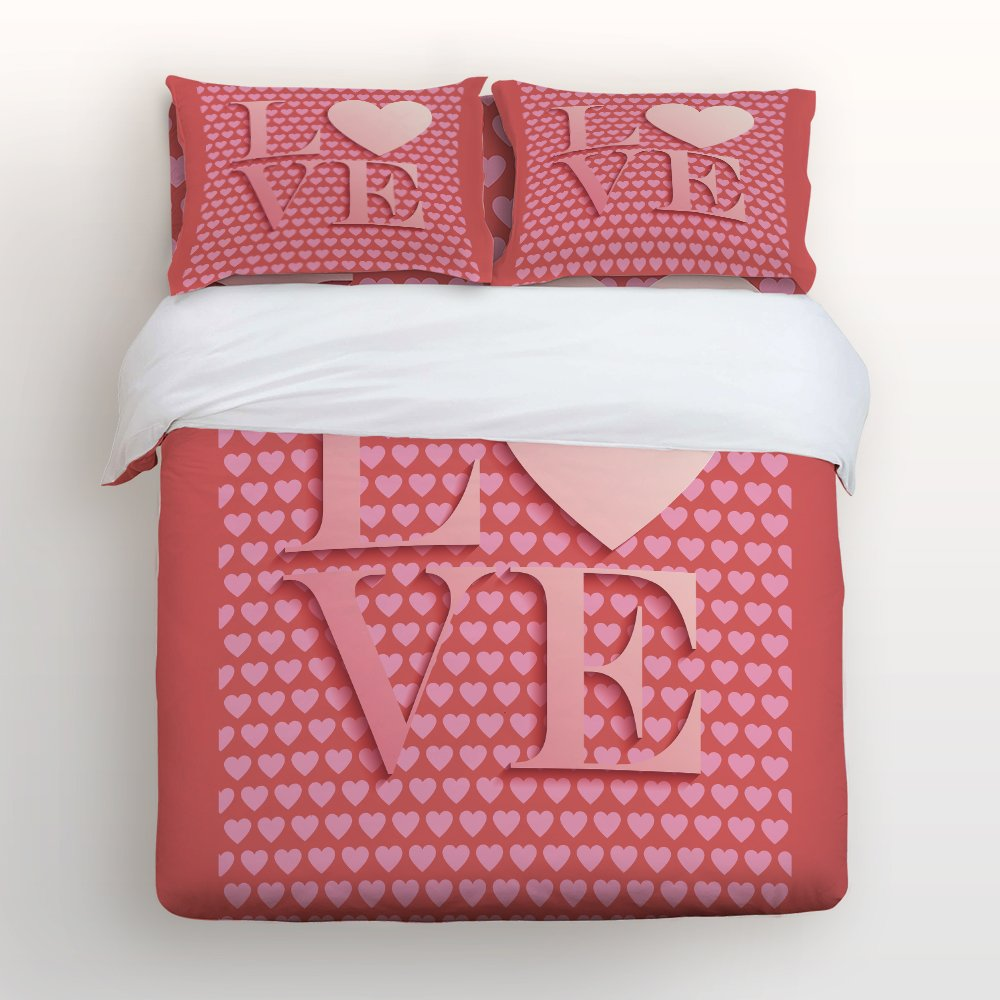 Libaoge 4 Piece Bed Sheets Set, Love Quote with Pink Heart Shapes Print, 1 Flat Sheet 1 Duvet Cover and 2 Pillow Cases