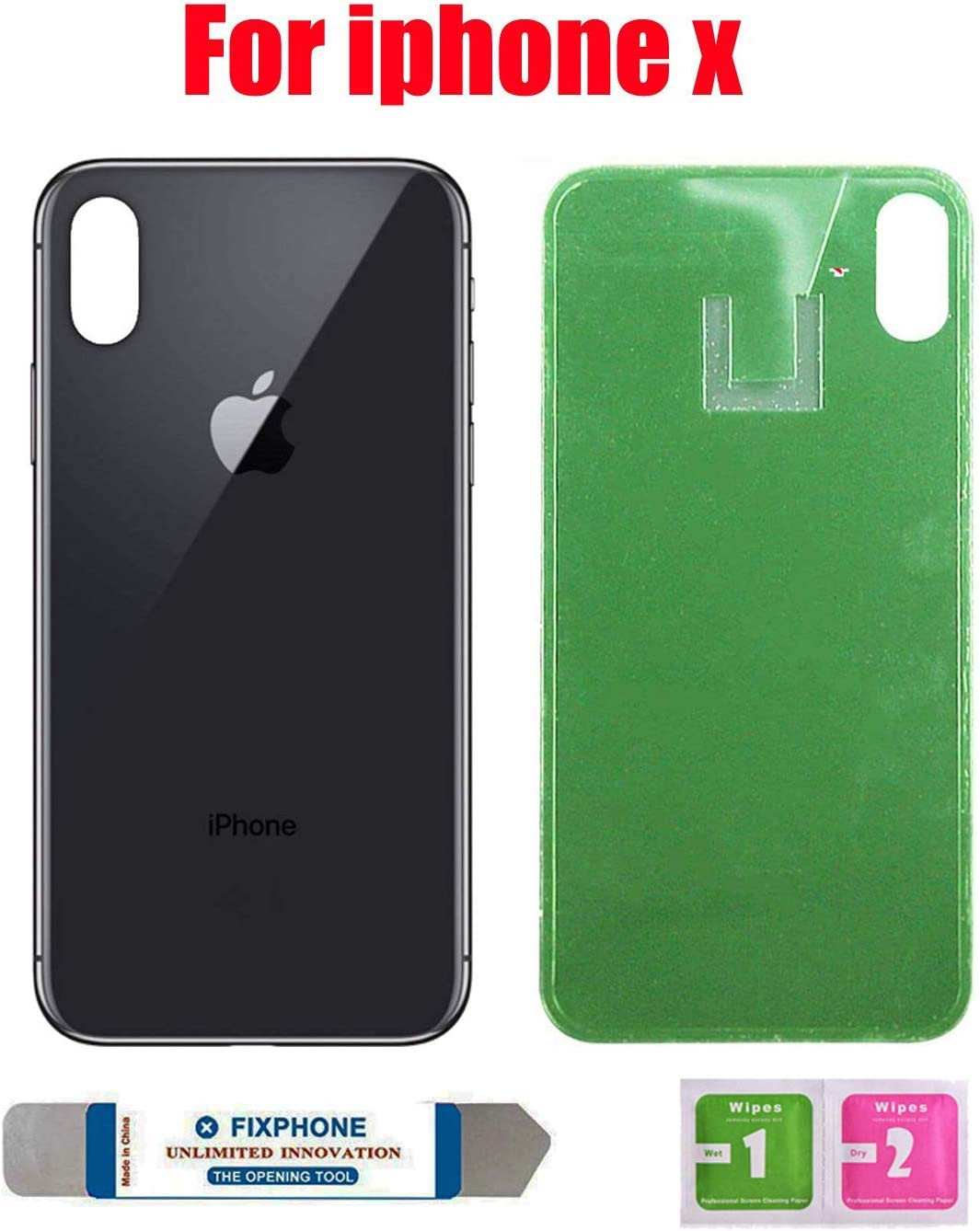 OEM Replacement Back Glass Cover Back Battery Door Pre-Installed Adhesive Replacement for iPhone Xs Silver