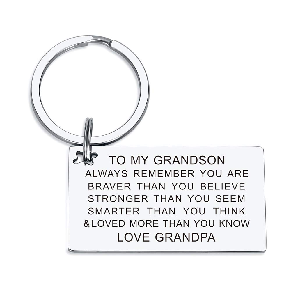 Grandson Keychain Birthday Gifts from Grandma Grandpa You are Braver than You Believe Inspirational Key Ring