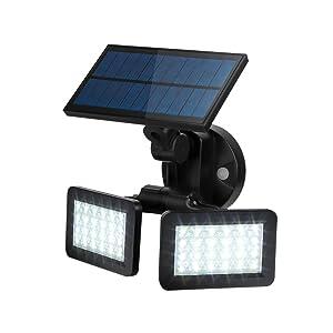 SZMiNiLED Motion Sensor Solar Lights Outdoor, Upgraded White Flood Security Light Waterproof IP65 6000K Adjustable Radar Induction Dual-Head Light for Entryways, Stairs, Yard and Garage