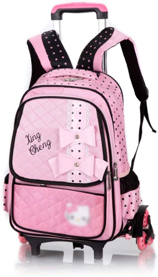 Boy and Girl Primary School Backpack Splash-Proof Nylon Fabric Detachable Three-Wheeled Trolley Rucksack Can Climb Stairs Children Aged 6-12 AXDNH Trolley Backpack for Kids
