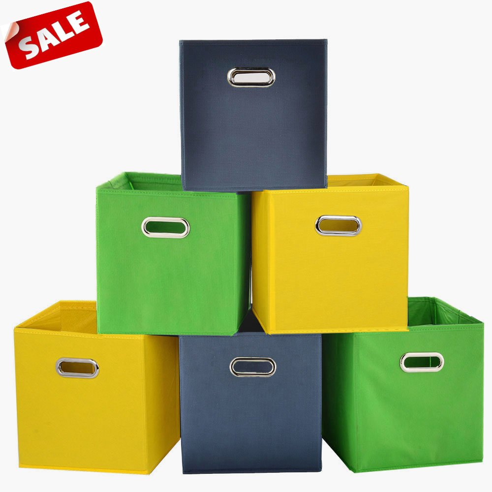 SHACO Durable Double Metal Handle Cloth Storage Cubes, Multiple-color Foldable Fabric Drawers