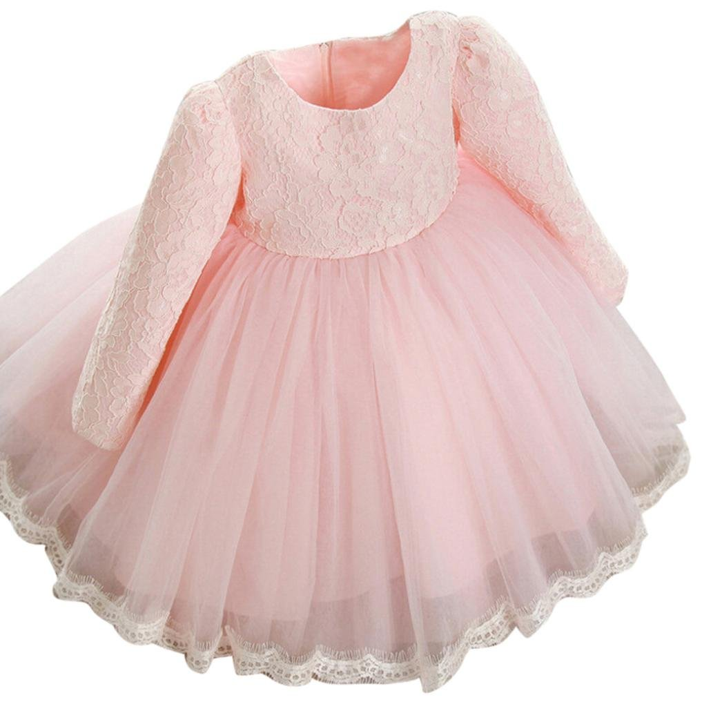 G-real Baby Girls Kids Flower Bow Lace Princess Wedding Party Pageant Dress Tutu Dress Gown for 1-6T (Pink, 4T)