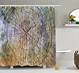 Ambesonne Rustic Home Decor Shower Curtain, Annual Rings of Wood Growth Dirty Inner Tree Body Branch Whorls Width Design, Fabric Bathroom Decor Set with Hooks, 70 Inches, Multi