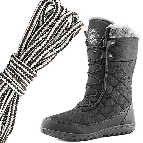 Dailyshoes Confort Des Femmes Bout Rond Mi-mollet Cheville Plat Haute Eskimo Fourrure Dhiver Bottes De Neige, Brun Foncé Gris Noir