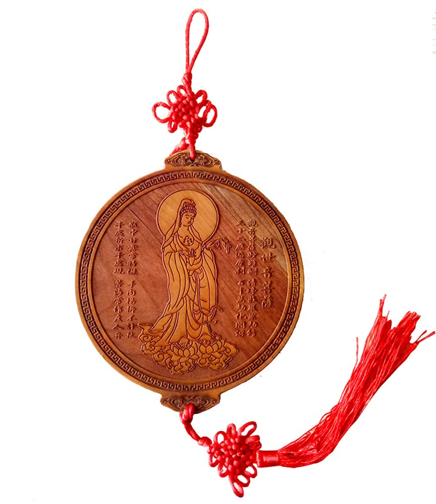 Chinese Feng Shui Peach Wood Guanyin for Protection Family Absorb Blessings - Feng Shui Home Decoration Attract