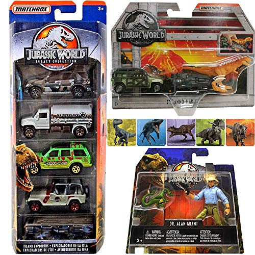 (Tyro Hauler Dino Trucks & Figures Jurassic World Collection Matchbox Cars Island Explorers Tanker / Park Explorer Legacy / Jeep & RV Off-Road 5-Pack with Dr. Alan Grant + Tyranno Set & Stickers)