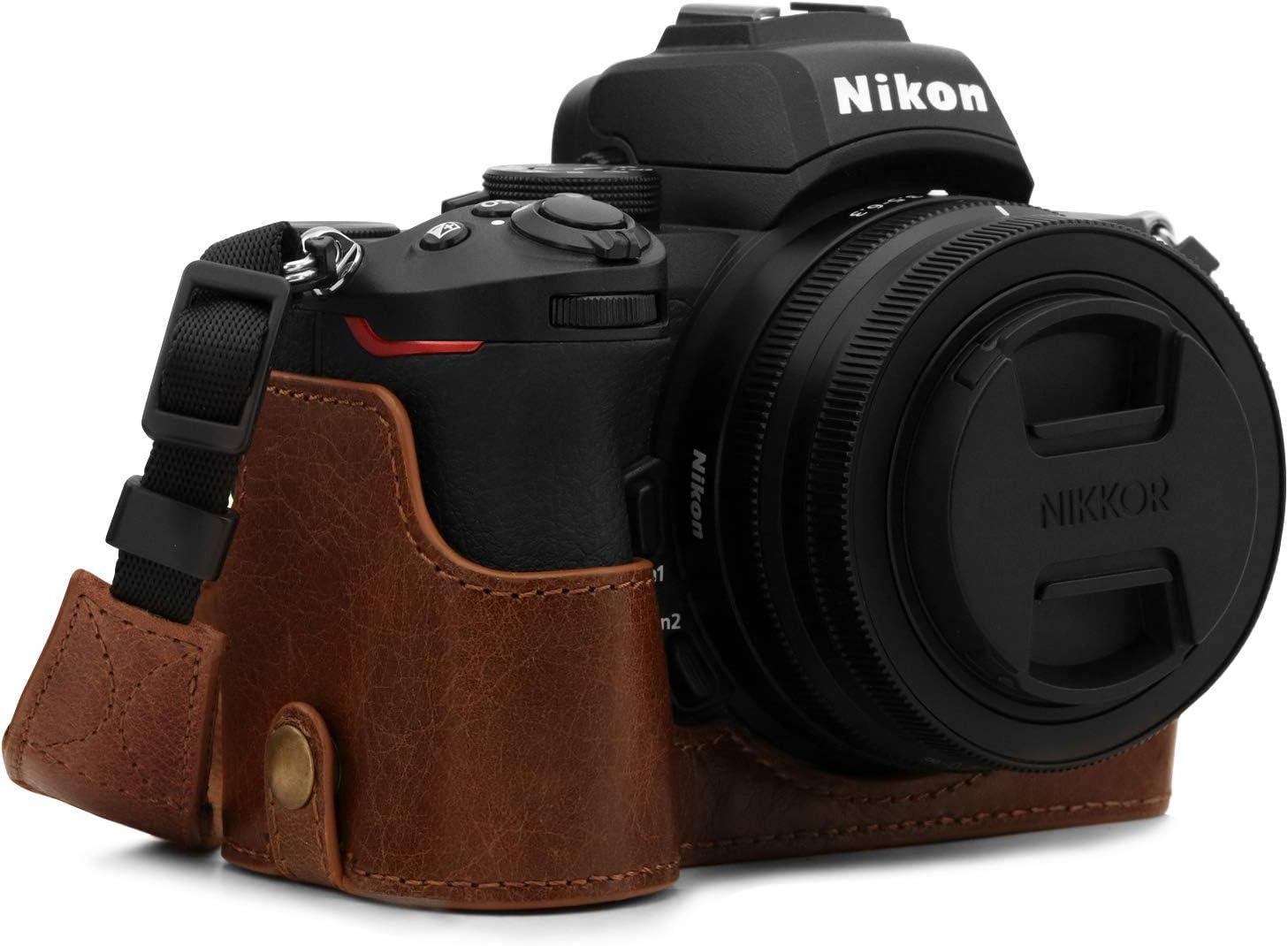 MegaGear Ever Ready Demi /Étui en Cuir V/éritable avec Bandouli/ère Compatible avec Nikon Z50