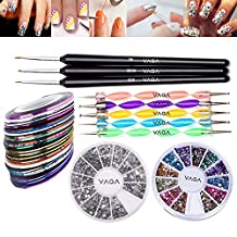 Great Value Premium Quality Professional Nail Art Accessories Set Kit With 5 Colourful Double Ended Dotting / Marbling Tools / Dotters, 3 Wooden Handled Detailer Brushes / Stripers / Liners, Wheels of 1200 Silver Rhinestones Decorations And of 2400 Crystals / Gemstones Decorations In 12 Different Colours And 10 Rolls Striping Tapes By VAGA®