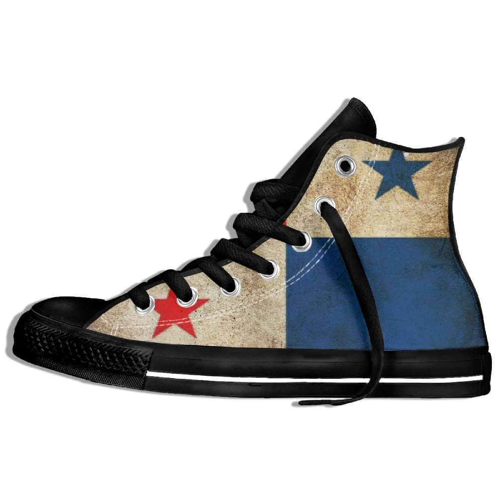 Unisex Panama Flag Grunge Retro Cool Hi-top Canvas Shoes Fashion Sneaker Lace Ups For Men And Women White