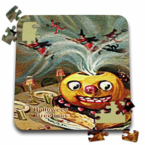 3dRose Sandy Mertens Vintage Halloween Designs - Magically Jack o Lantern on Cake with Witches and Devils (Textured) - 10x10 Inch Puzzle (pzl_53708_2)