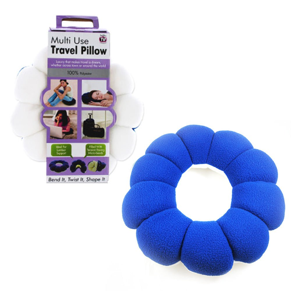 Travel Pillow Neck Lumbar Support Twists to Almost Any Position Cushion Car Rest