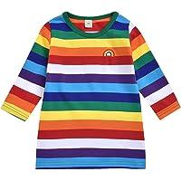 Greenwind Body para bebés y niños pequeños Trajes de Vestir de Princesa con Estampado de Rayas arcoíris para bebés y…