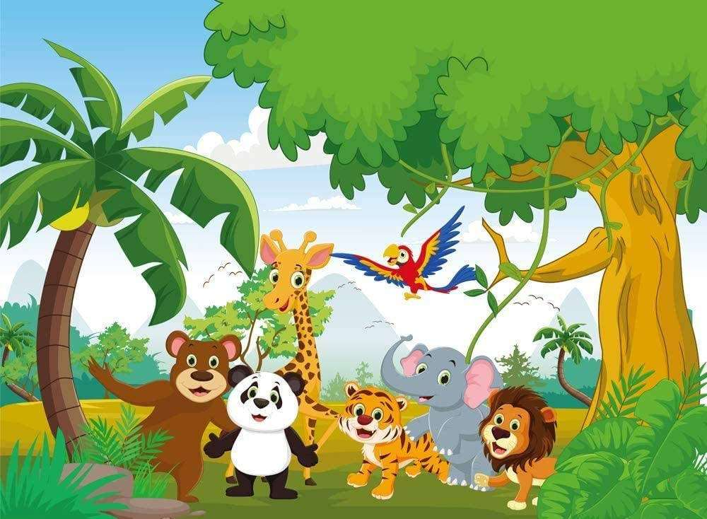 New 7X5ft Jungle Theme Baby Shower Animals Wild One Birthday Party Banner Photography Backdrop Background for Kids Studio Props hz-1062