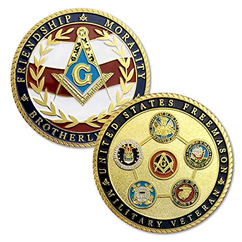 (US Masonic Veteran Challenge Coin Military Family Collectibles-Army Navy Air Force Marine Corps Coast Guard)