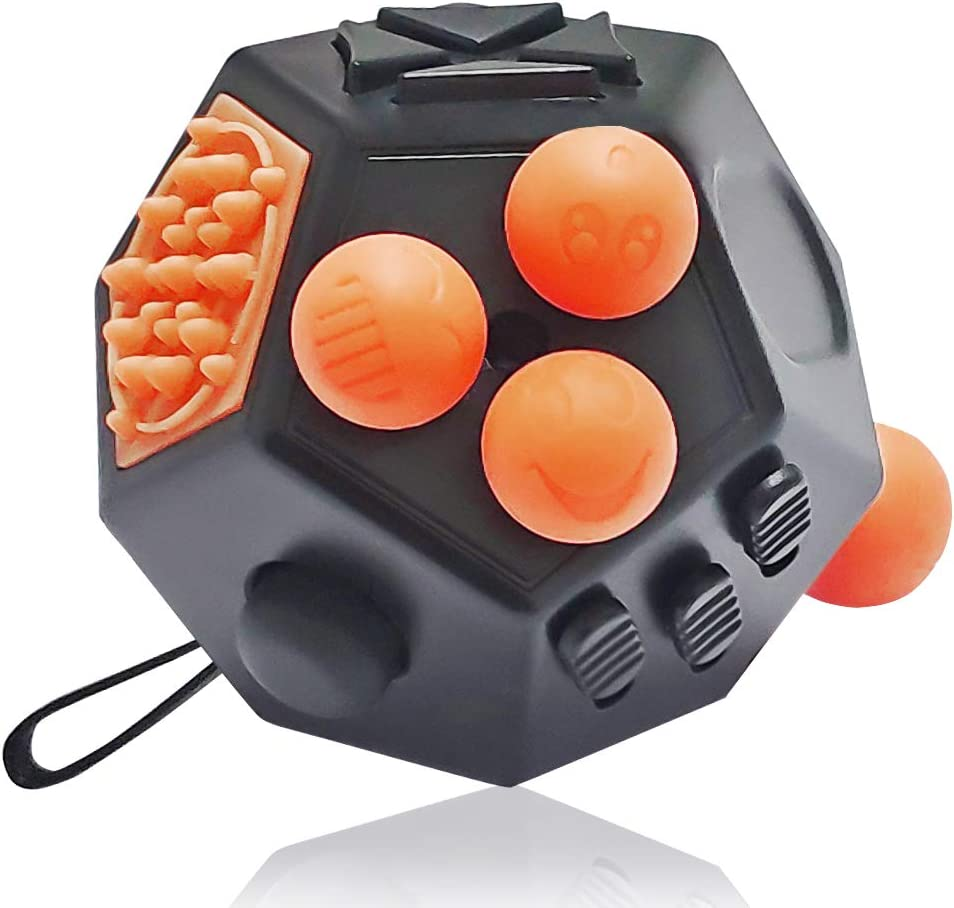 VCOSTORE 12 Sided Fidget Cube, Dodecagon Fidget Toy Decompression for ADD, ADHD, Autism Kids and Adults(Black Orange
