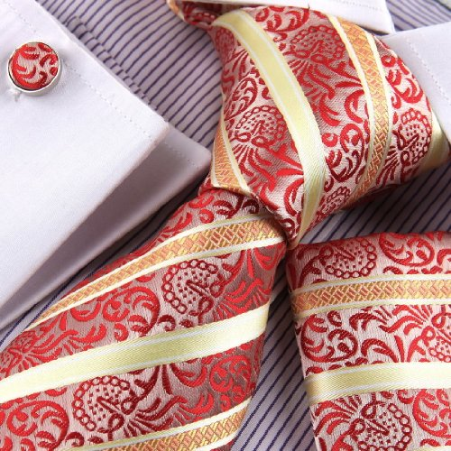 Designer Inspired Orange Yellow Stripes Woven Silk Tie Hanky Cufflinks and Handkerchiefs Set with Gift Box Set PH1041 onesize Yellow,Red