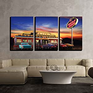 "wall26 - 3 Piece Canvas Wall Art - Retro American Diner at Dusk - Modern Home Art Stretched and Framed Ready to Hang - 16""x24""x3 Panels"