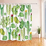 NYMB Cartoon Cactus and Flowers Shower Curtain 69X70 inches Mildew Resistant Polyester Fabric Bathroom Curtains Fantastic Decorations