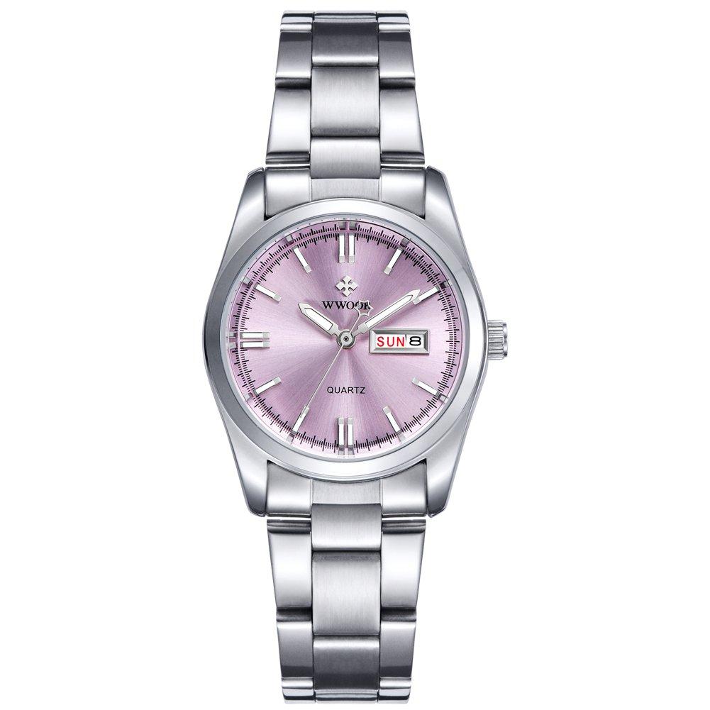 Top Luxury Brand WWOOR Women's Pink Dial Quartz Date Clock Stainless Steel Casual Watch (04-P)