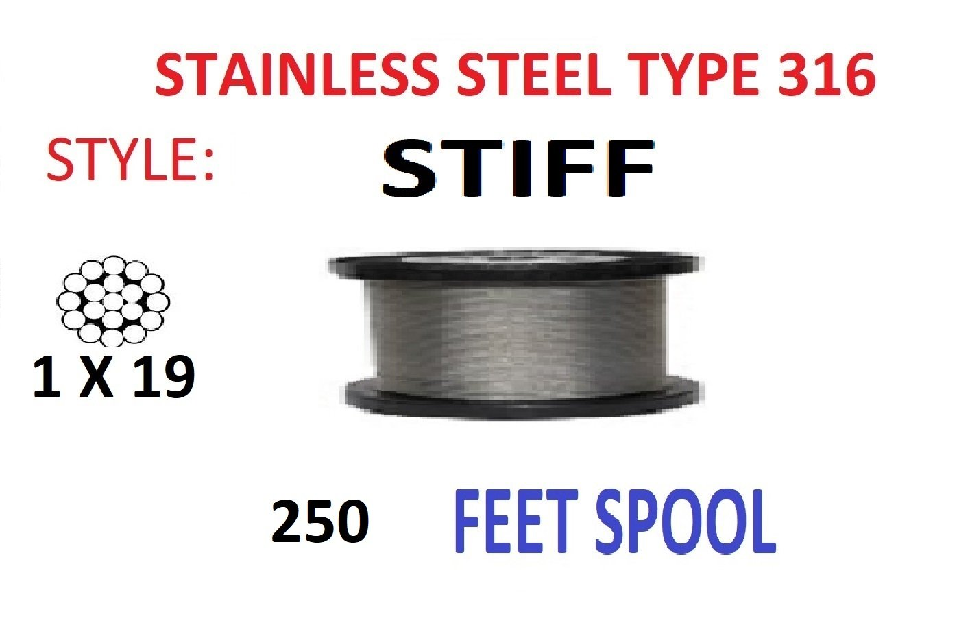 ArkHardware 250 Feet 1/8'' 1x19 Stainless Steel Type 316 Stiff Wire Rope Cable Railing Rigging Commercial Marine Grade