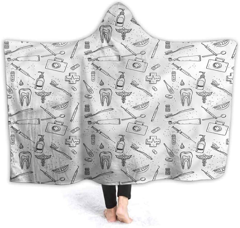"vsunburst Hooded Throw Blanket Doodle Hooded Blanket Throw Wearable Cuddle Medical Dental Care Blanket for Office Cape Snuggle 60""x50"""