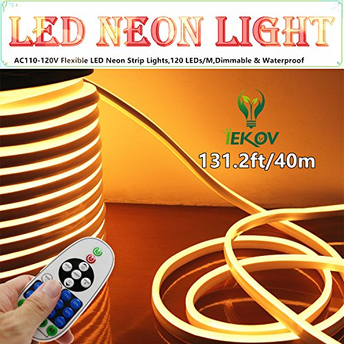 LED NEON Light, IEKOVTM AC 110-120V Flexible LED Neon Strip Lights, 120 LEDs/M, Dimmable, Waterproof 2835 SMD LED Rope Light + Remote Controller for Home Decoration (131.2ft/40m, Warm White)
