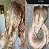 Full Shine 22 inch Remy Tape In Hair Blonde Highlighted Extensions Balayage Hair Color #5 Fading to #18 and #24 Blonde Extensions 20 Pcs 50gram
