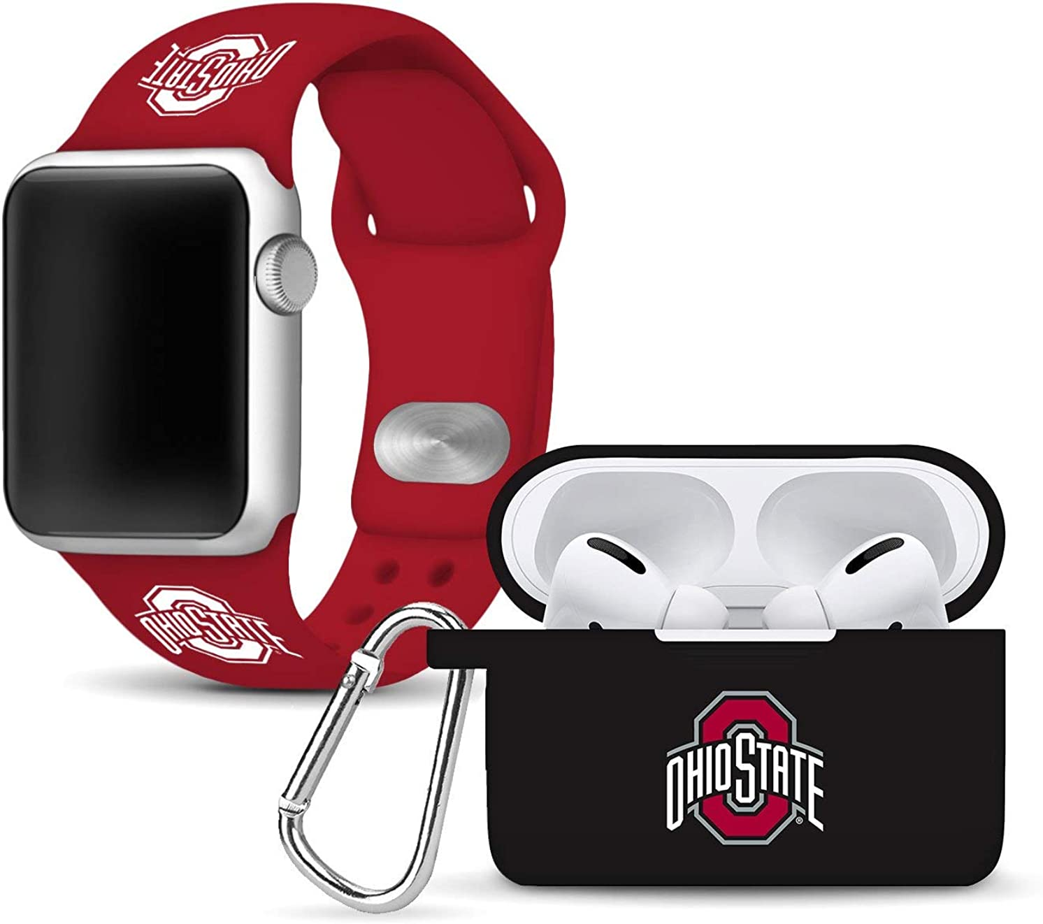 Ohio State Buckeyes Silicone Watch Band and Case Cover Combo Package Compatible with Apple Watch and AirPods Pro Battery Case