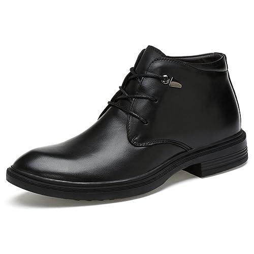 c4d588672a4 FOXSENSE Premium Genuine Leather Chelsea Lace up Ankle Boots Formal Dress  Shoes for Men Black 5US