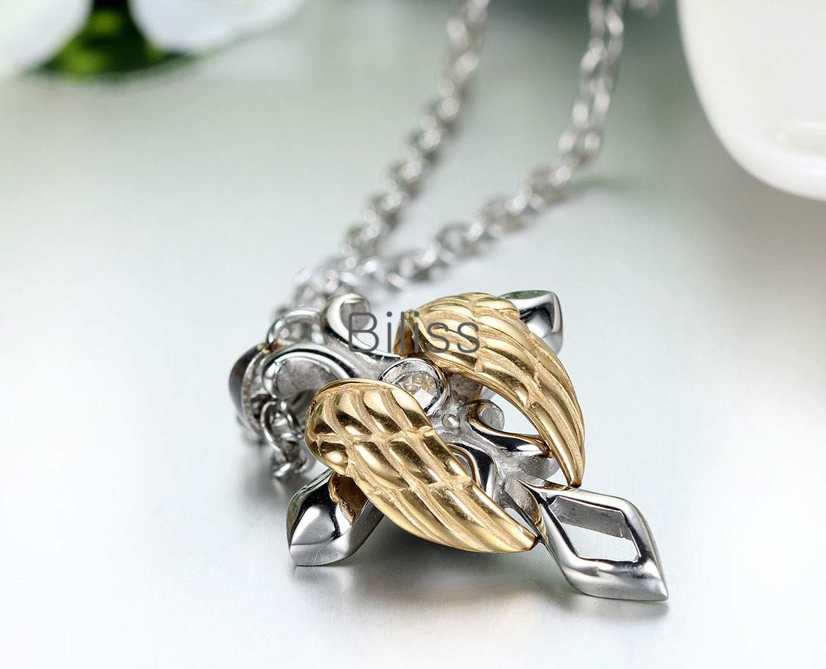 Metal Color: Gold Davitu Vintage Cool 316l Stainless Steel Necklace for Men Womens Angel Wing Cross Pendant Necklaces Chain 22 inch Hombre collares
