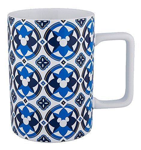 Disney Parks Hidden Mickey Icon Geometric Blue White Stoneware Mug