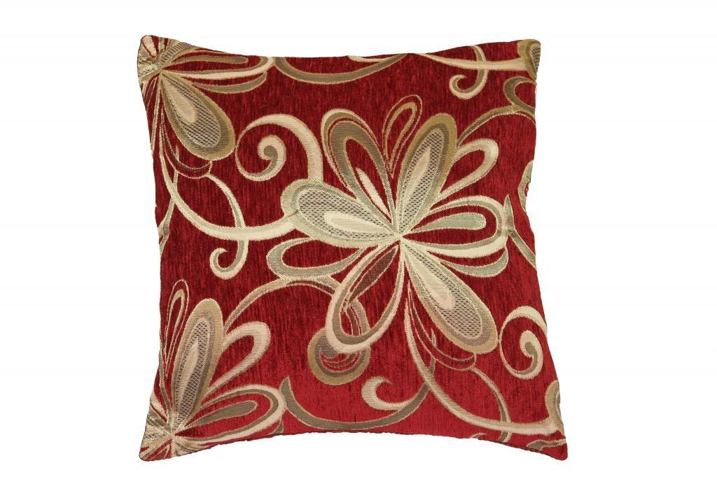 """Chenille Chateau Vintage Floral Design 18"""" X 18"""" Decorative Cushion Cover, Color Burgundy"""