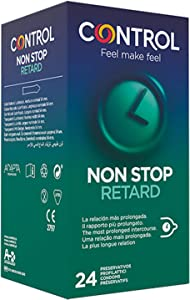 Control Non Stop Retard Preservativos- Caja de condones retardantes para una relación más prolongada, lubricados, ajuste perfecto, sexo seguro, 24 unidades (pack ahorro)