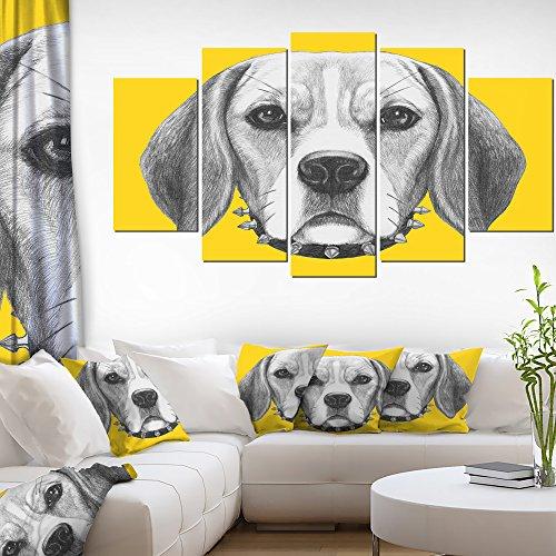 Funny Beagle Dog with Collar Animal on Canvas Art Wall Photgraphy Artwork Print -  Design Art, PT13178-373