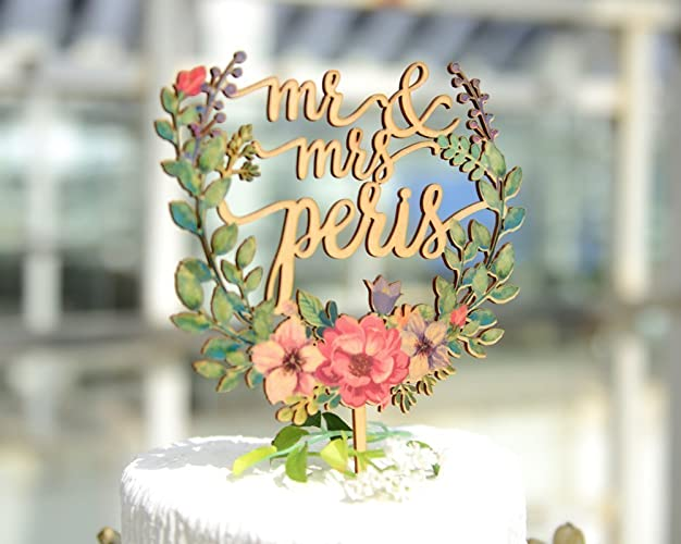 Amazon Com Floral Wreath Style Wedding Cake Topper With Name Mr