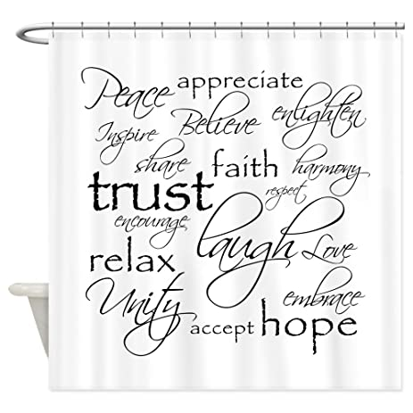 CafePress   Positive Words   Shower Curtain   Decorative Fabric Shower  Curtain