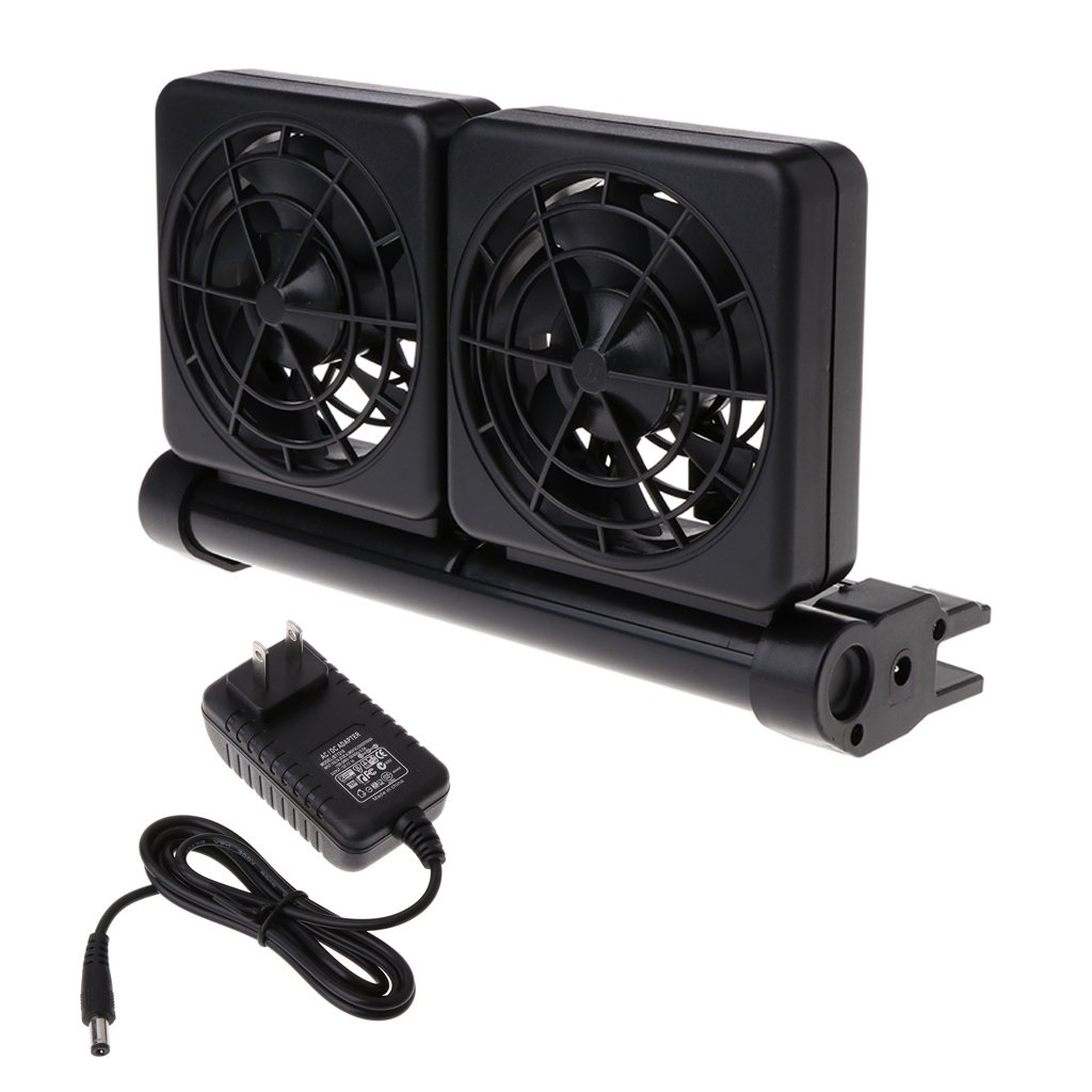 Thobu Cooling Fan For Aquarium Fish Tank Water Adjustable Wind 1/2 Temperature Control US Plug Double