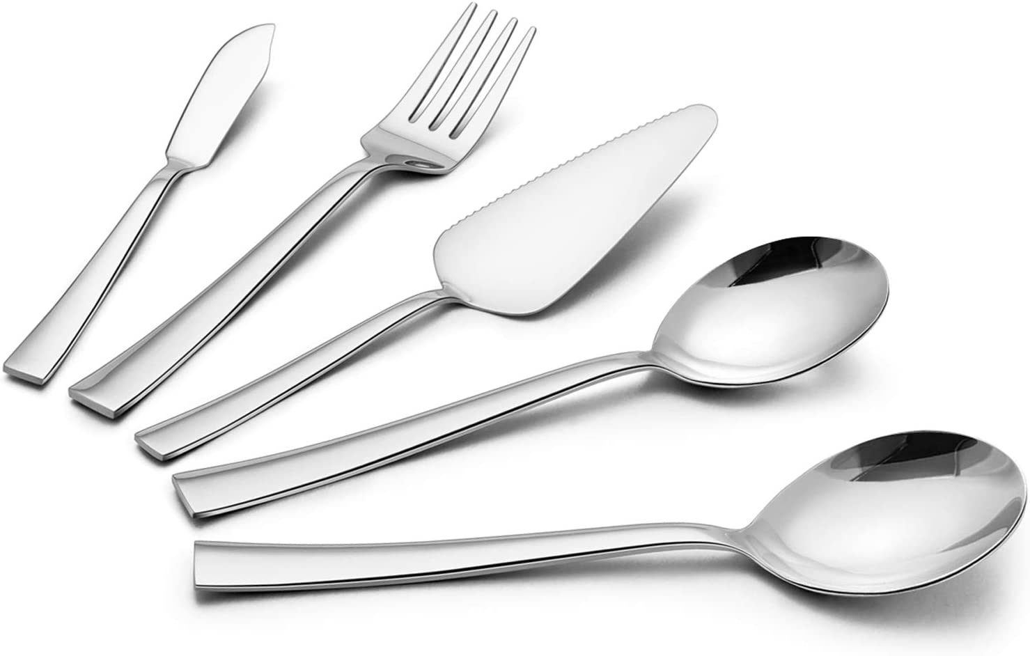 5-Piece Serving Utensil Set, HaWare Stainless Steel Hostess Set with Square Edges, Modern and Elegant, Mirror Finished and Dishwasher Safe