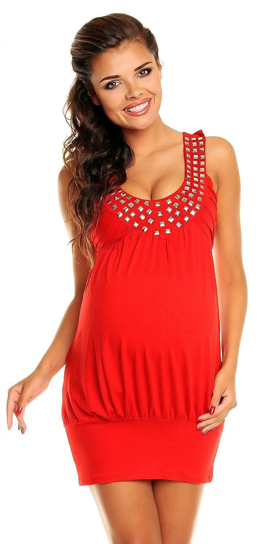 Zeta Ville - Women's - Maternity Bubble Dress Tunic with Studded Neckline - 024c