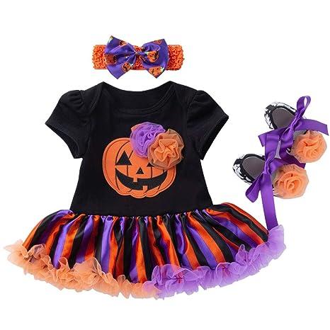 Vine Bebé Niñas 3pcs Trajes de Halloween Tutú Mameluco + Venda + ...
