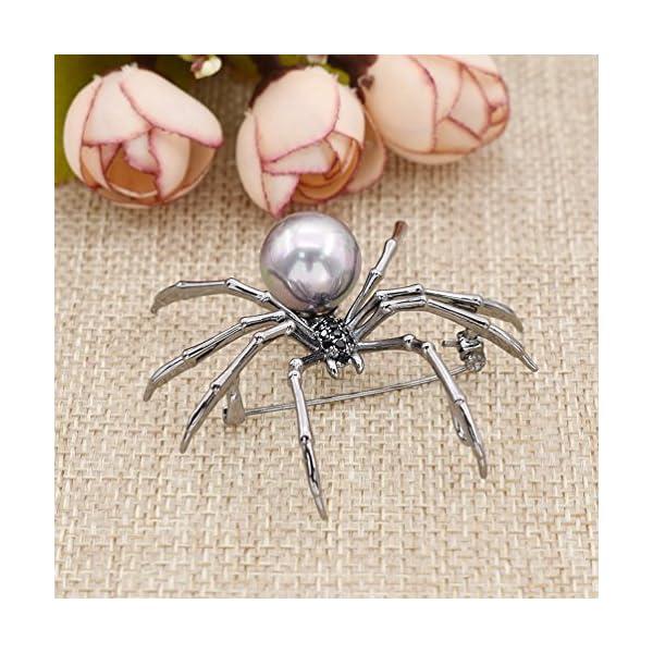 Qlychee Victorian Spider Brooch Rhinestone Body Breastpin Pearl Steampunk Jewelry Gift 4