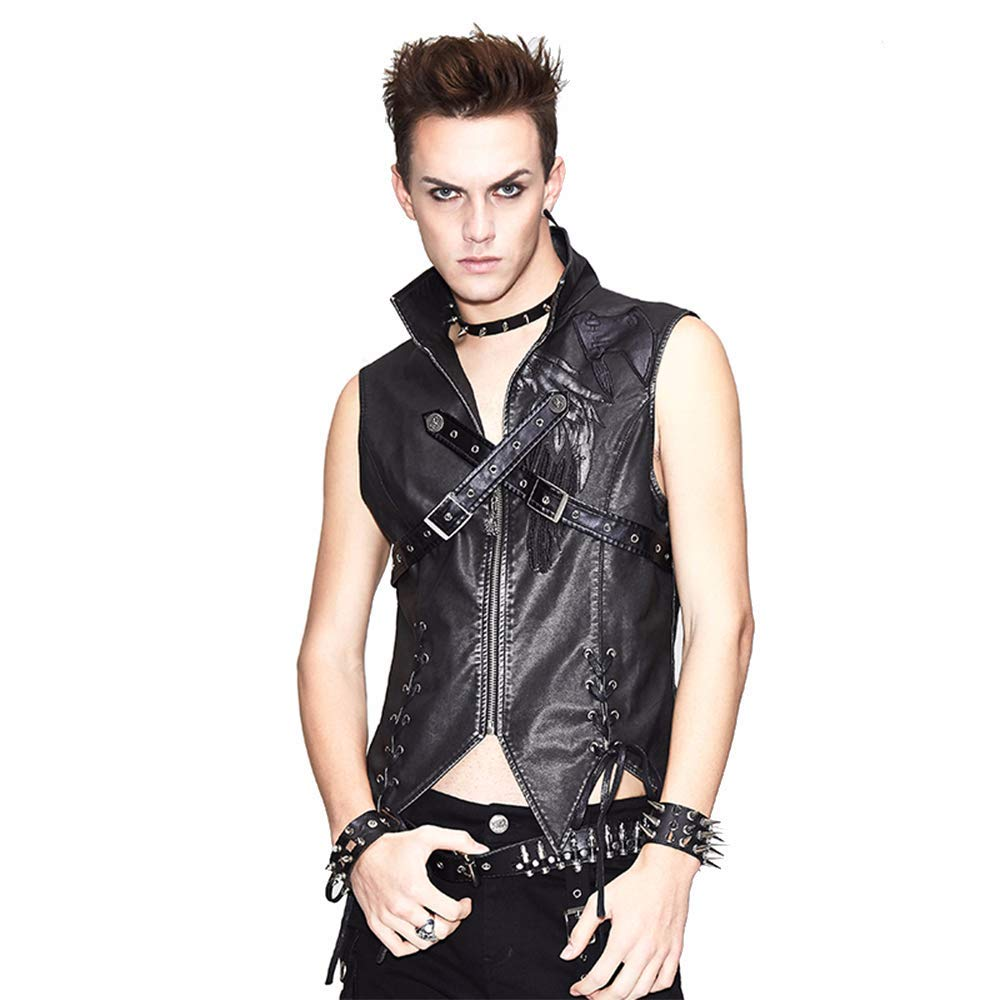 Devil Fashion Mens Black PU Leather Punk Waistcoat Gothic Motorcycle Tops Stand Collar Street Rock Vest (Silver,S) by Devil Fashion