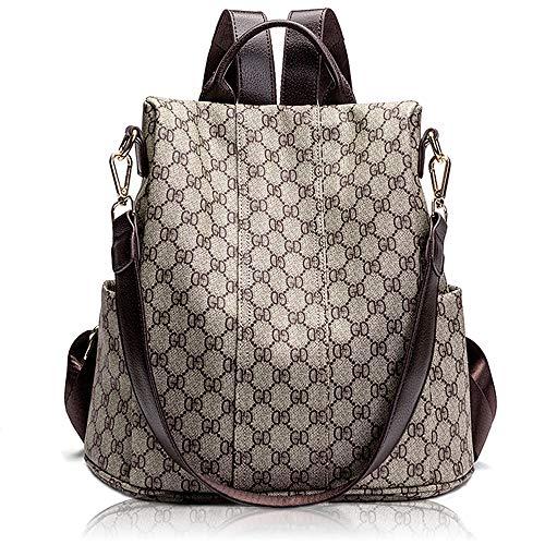 Women Fashion Backpack Purse Anti theft Leather Travel Backpack Bag School Shoulder Bag Handbag (Gray) -